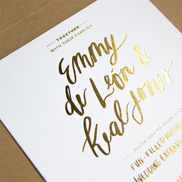 foil printed invites charing x print
